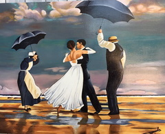 The Singing Butler d'ap. Jack Vettriano huile sur lin 25 F - 81 x 65